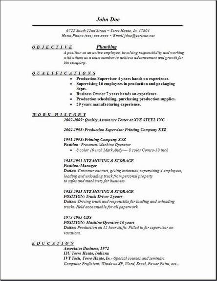 plumbing resume exles sles free edit with word