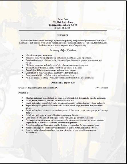 Marvelous Plumbing Resume Plumbing Resume3 Intended For Plumbing Resume