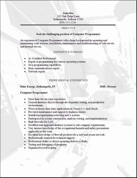 Programming Resume, Occupational:Examples,Samples Free Edit With Word