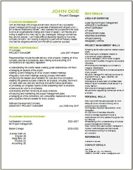 project management resume  occupational examples samples free edit with word