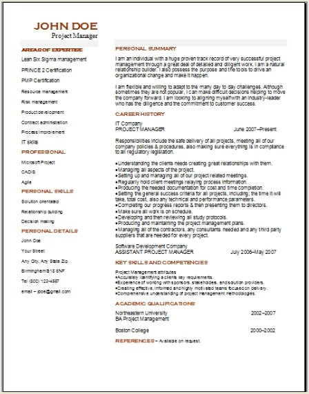 Project Management Resume Occupational Examples Samples