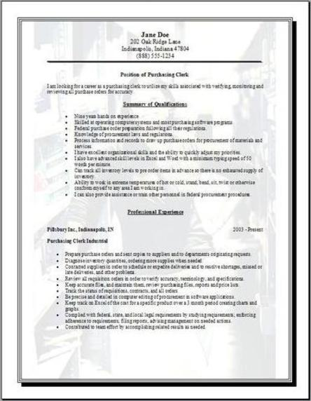 purchasing resume  occupational examples samples free edit with word