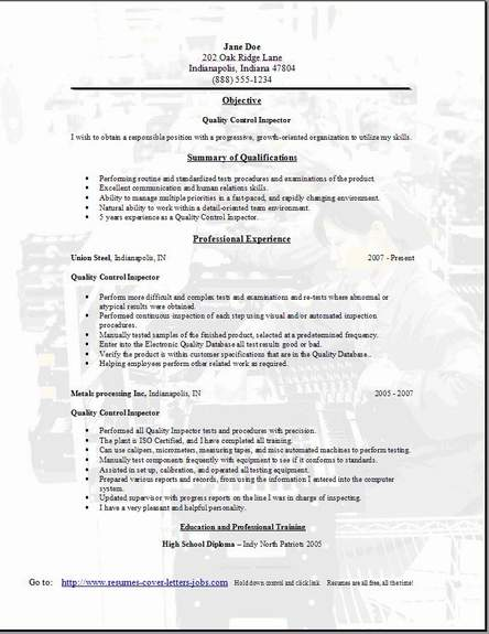 Quality Control Resume, Occupational:examples,samples Free edit ...