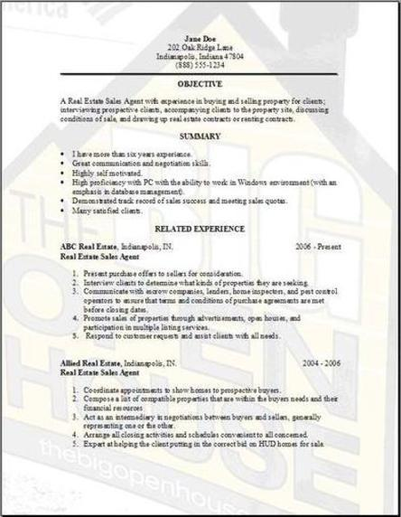 Resumes, Cover Letters And A Job  Realtor Resume Examples
