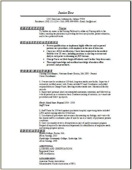 Registered Nurse Resume Sample Occupationalexamplessamples Free