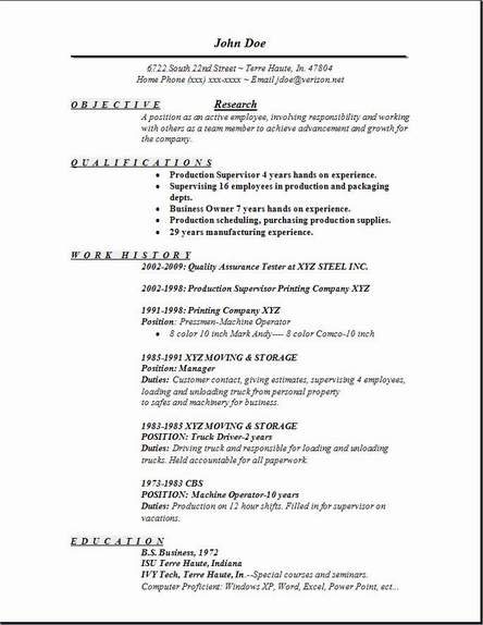 Resume sample for research