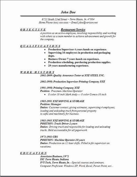 Restaurant Service Resume OccupationalExamplesSamples Free Edit