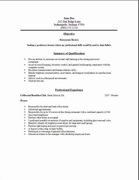Sample Resume Restaurant Team Member
