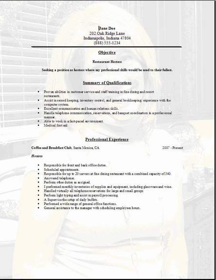 Restaurant Service Resume Occupationalexamplessamples Free edit – Ordinary Resume Format