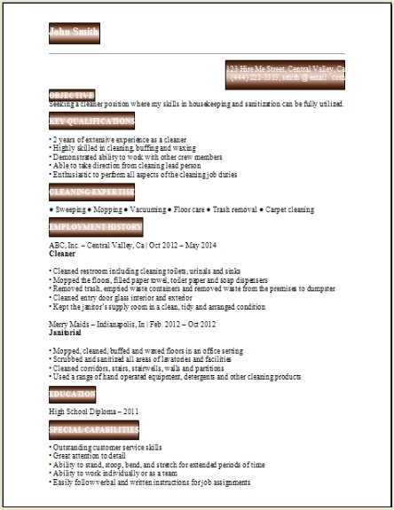 Resume For Cleaning2