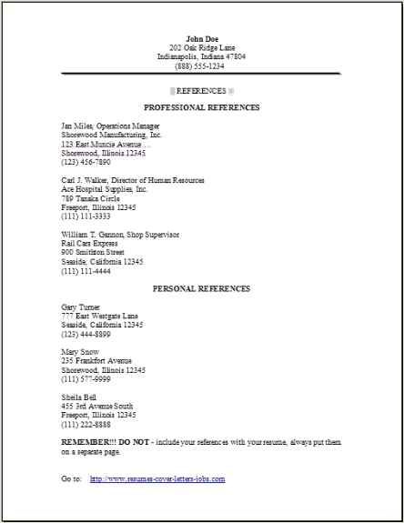 resume reference page  occupational examples samples free