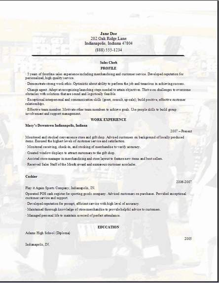 retail sales resume  occupational examples samples free
