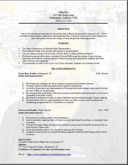 diagnostic sale representative resume contact