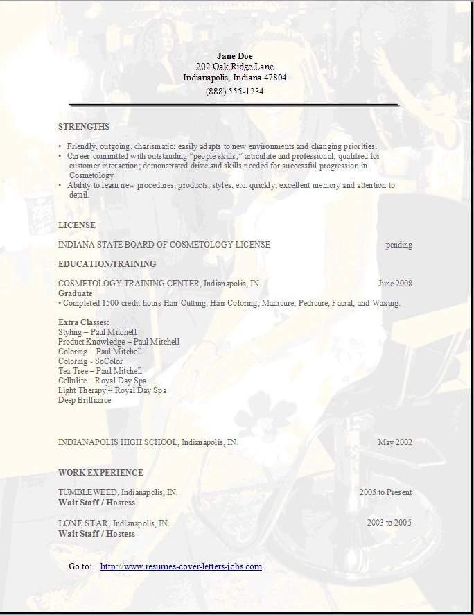 sample resume for hairstylist  seangarrette cosample resume for hairstylist