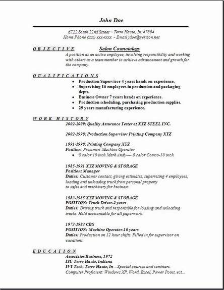 Salon Cosmetology Resume