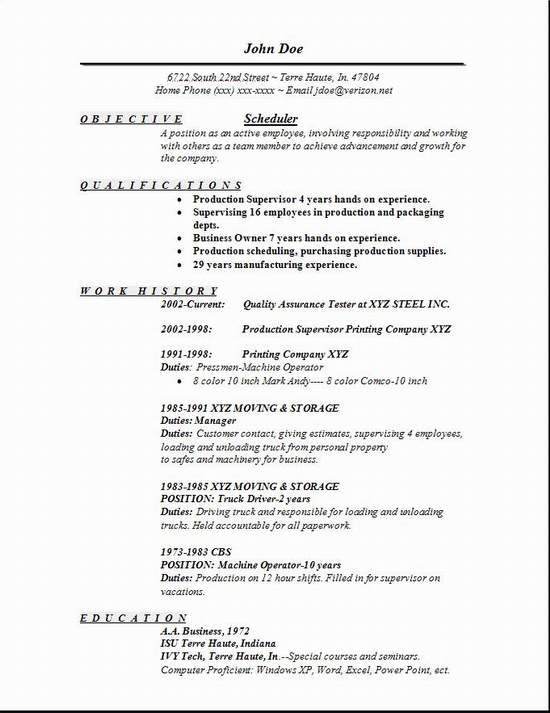 Scheduler Resumes  Template
