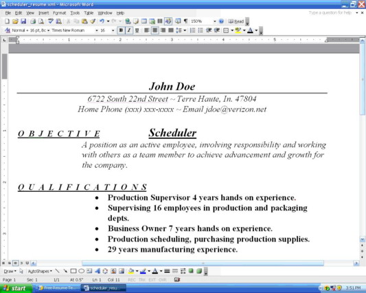 Scheduler Example 1. Resume Example 2  How To Organize A Resume