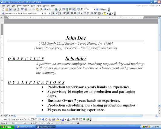organize resume
