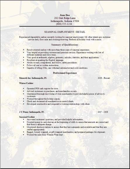 Seasonal Employment Resume, Occupational:Examples,Samples Free