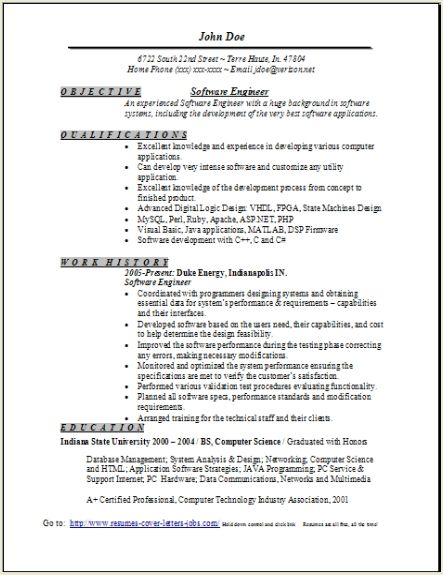 software engineer resume software engineer resume templates ...