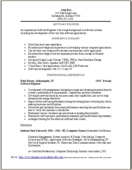 Resume software engineer sample