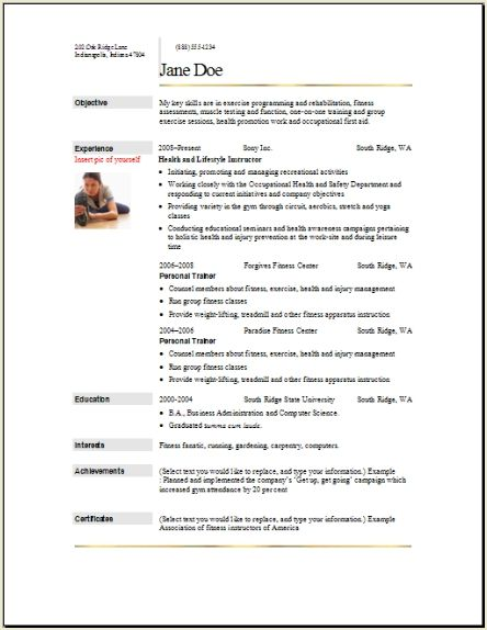 sports fitness resume occupational examples samples free edit