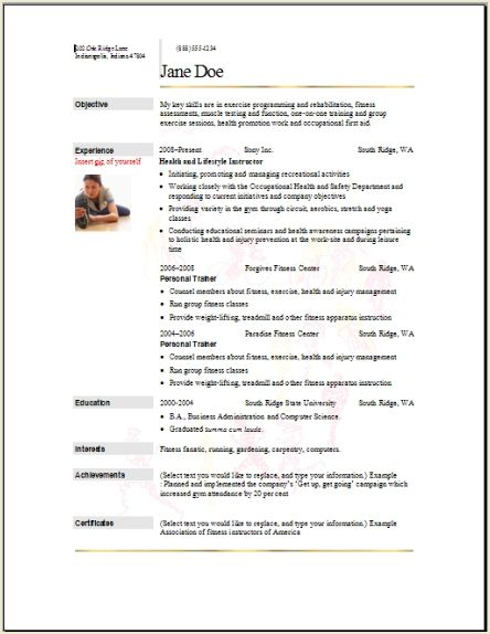 Sports Fitness Resume Occupational Examples Samples Free
