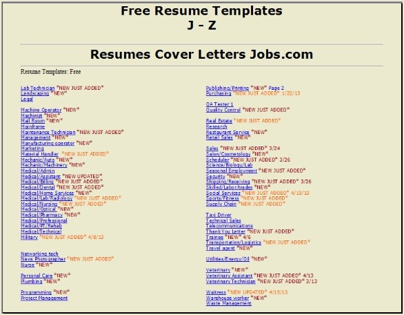 Targeted Resumes J-Z