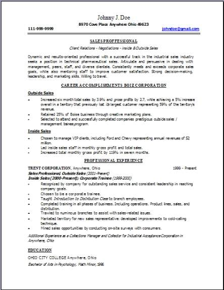 Technical Sales Resume  Occupational examples samples