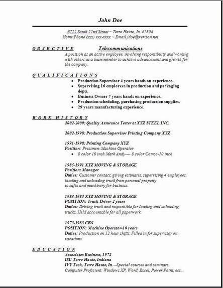 Telecommunications Resume