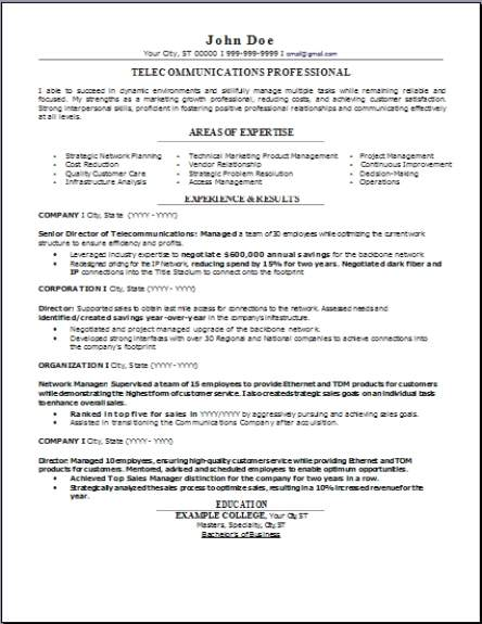 telecommunications resume  occupational examples samples free edit with word