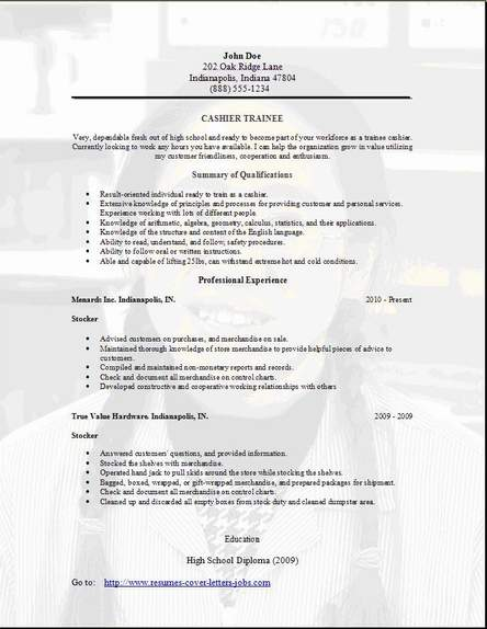 Trainee Resume  Occupational examples