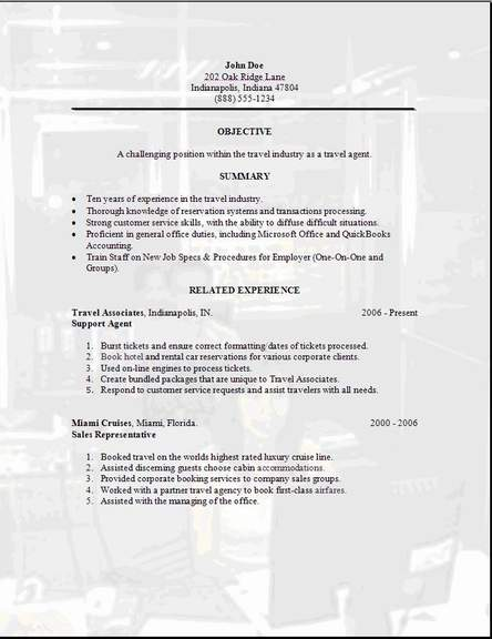 travel agent resume  occupational examples samples free