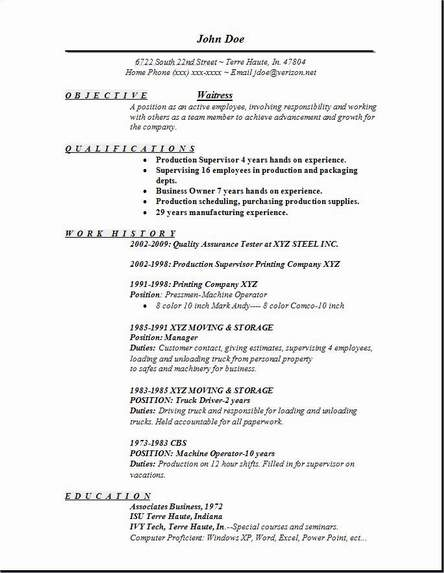 Resume Template For Waitress