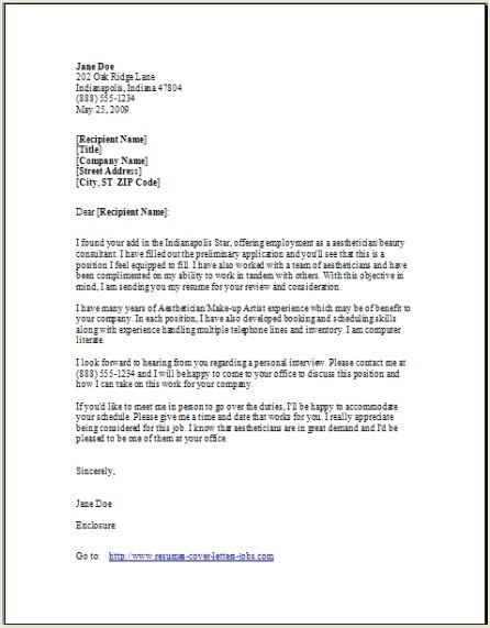 Cover Letter Completed Format