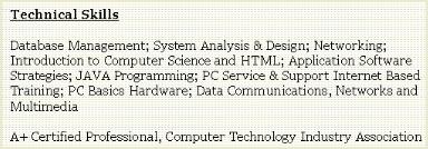 Job Resume Technical Skills