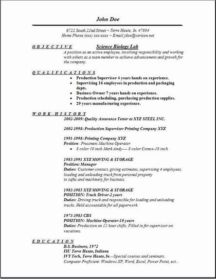 Science Biology Lab Resume